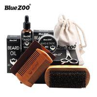 Wholesale small wax bags for sale - Bluezoo Beard Set Beard Oil Beard Wax Double Side Comb Brush Bag Small Scissors Piece Set