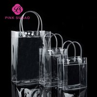 ingrosso sacchetto dentellare di qualità-Rosa borse della spesa Sugao alta qualità borsa del regalo in PVC trasparente borsa pacchetto impermeabile può stampare il logo personalizzato e molti all'ingrosso formato