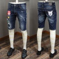 короткие джинсы расстроены оптовых-2019 Популярные Горячие Вышивки Патчи Джинсовые Шорты Slim Fit Проблемные Летние Короткие Джинсы Для Молодого Парня