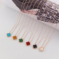 Wholesale gold leaf clover pendants resale online - Four leaf Clover Necklace for Ladies Delicate Women Necklace Brand Necklace for Fashion Party K Rose Gold Clavicle Chain