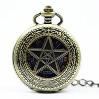 montres chanceuses achat en gros de-Grandes montres mécaniques montre de poche Vintage montres Lucky Star tableaux muraux collier chaîne pour hommes femmes PJX1225