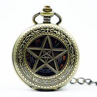 relojes chinos unisex al por mayor-Grandes relojes mecánicos Reloj de bolsillo Relojes vintage Lucky Star Cartas de pared Collar de cadena para hombres mujeres PJX1225