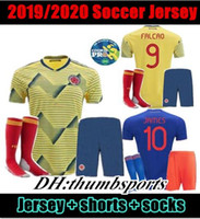 Wholesale colombia uniforms resale online - 10 free DHL Colombia MEN set soccer Jersey Home yellow away FALCAO JAMES CUADRADO BOCCA BACCA adult kit Football uniform GUA