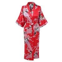 ingrosso abito da bagno rosso-Red Lady Silky Sleep Robe Kimono Estate Womans Bath Gown Yukata Camicia da notte Sleepshirts Casual Home Wear Abbigliamento da notte Peacock