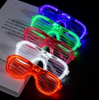 поставка красных зеленых очков оптовых-Трансграничные поставки красный синий белый зеленый жалюзи холодный свет очки привели светящиеся праздничные очки флэш аплодисменты реквизит партия