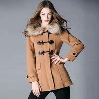 ingrosso bottoni di pelliccia-donne inverno cappotto di lana dal design di lusso delle donne di pulsante del clacson lungo cappotto di volpe giacca di pelliccia con cappuccio epoca dimensioni giacche stile kaki britannici S-XL
