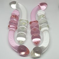 ingrosso anale trasparente-Rosa trasparente cristallo dildo vetro pyrex falso pene anale butt plug tallone prostata g-spot giocattoli del sesso femminile prodotto masturbazione per le donne