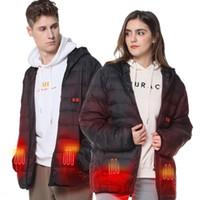 ingrosso cappotto di abbigliamento di sicurezza-VINMORI batteria ricaricabile impermeabile Zipper esterno di inverno Sport di sicurezza Sci Caccia incappucciato caldo del rivestimento del cappotto Abbigliamento Riscaldamento