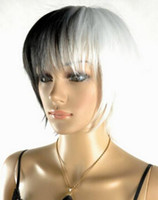 Wholesale white black straight wig online - WIG Fashion Women Cosplay Party Wigs Short black and white Style Straight Wig
