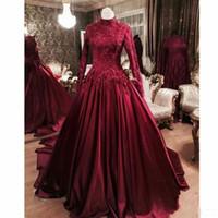 frisado modesto vestidos de baile venda por atacado-Borgonha Muçulmano Prom Vestidos Formais com Manga Longa 2019 Modest Alta Neck Lace Frisada Dubai Árabe Saia Puffy Ocasião Evening Gown