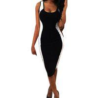 ingrosso grandi donne bianche sexy-Le donne in bianco e nero Stretto aderente Big Code Dress Sexy Womens Canotta O-Collo Dress Ladies Fashion Party Abiti vestido