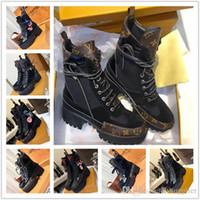 ingrosso merletti in nylon piatti-Laureate Piattaforma di marca Desert Boot Scarpe da donna di design Stivali Martin di lusso di moda Stivaletti da caviglia in pelle oversize con tacco grosso