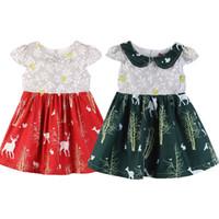 Wholesale snowflake clothing online - Christmas Baby girls Snowflake deer Print dress children Xmas Elk princess dresses Boutique kids Clothing C4848