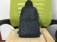 göğüs torbaları toptan satış-Gerçek deri erkek göğüs çantası AV. ÇANTA ÇANTASI D.GRAP. N41719 seyahat çantası MENS çapraz vücut meme omuz çantası N41712 AVENUE N41720