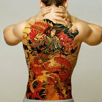 gefälschte drachentätowierungen großhandel-temporäre tattoos männer frauen sexy body art aufkleber große rücken tattoo jungen wasserdicht fake tattoo abnehmbare drachen wolf tiger