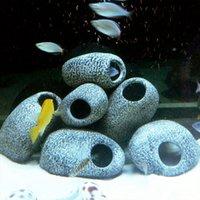adorno de mármol al por mayor-Acuario agua Piedra de cerámica Rock Cave Fish charca del tanque de camarón La cría del ornamento decoración accesorio decorativo mármoles