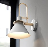 Wholesale vintage bedroom wall light resale online - Modern vintage clarion wall lamp simple Europe wall light LED E27 with colors for bedroom living room restaurant kitchen aisle