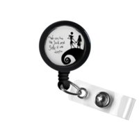 vidro do jaque venda por atacado-Jack e Sally Nightmare Before Christmas Quote Foto Tampa de garrafa de vidro Retrátil ID Badge Reel