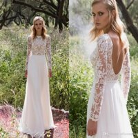 Wholesale wedding dress long sleeves chiffon vintage for sale - Group buy 2019 Lace Beach Wedding Dresses Vintage Scoop Long Sleeves Backless A line Bridal Dress Chiffon Long Country Wedding Gowns