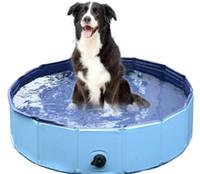 piscinas plegables al por mayor-100 * 30 cm Grande Plástico Duro Plegable Plegable Remando Perro Mascota Piscina Plegable Mascota Perro Natación Casa Cama Verano Piscina