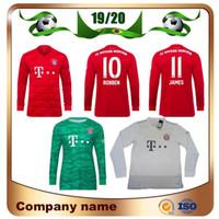james long venda por atacado-19/20 camisa de futebol de manga longa Bayern Munique manga longa camisa de futebol de 2019 ROBBEN JAMES MULLER VIDAL LEWANDOWSKI guarda-redes uniforme de futebol de NEUER