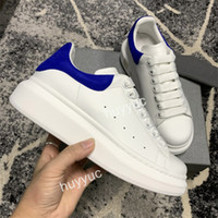 ingrosso scarpe de -2020 Top Quality Mens Womens Popolari Scarpe Casual Vendita Blu BCak Sneakers BLCak Punta piattaforma Leather Shoes Flat Chaussures De Sport Zapatillas
