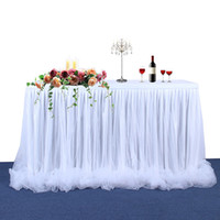 Wholesale tulle decorations for birthday parties online - Handmade Tulle Table Skirt Tablecloth for Birthday Party Wedding Banquet Home Decoration Home Textile White Pink Table Skirt