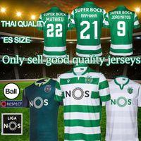 camisetas de fútbol de manga corta al por mayor-19 20 Sporting Lisboa jerseys caseros de distancia verde # 4 # 9 Coates ACUNA fútbol camisas blancas de manga corta de ropa de fútbol