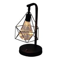 lámpara de mesa de noche de batería led al por mayor-Bombilla de ahorro de energía moderna dormitorio la noche retro decorativo cabecera del escritorio lámpara de mesa con pilas JK0175A regalo
