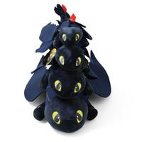 ingrosso regali della novità del treno-4 Taglie Come addestrare il tuo drago 2 Film giocattolo peluche Luce senza denti Fury Black Dragon Farcito Animali Regali per bambini Articoli novità CCA11372 60 pezzi