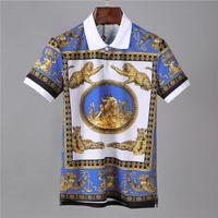 leopar desenli mens tişört toptan satış-Yeni 2019 Yaz POLO Gömlek Leopar Baskılı Desen Kazak Yaka Moda Kısa kollu Tişört Erkek Tasarımcı T Shirt Sıcak Satış Boyutu M-3XL