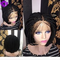 Wholesale blonde ombre crochet hair resale online - Middle part africa women style Short Bob Braided Box Braids Wig Heat Synthetic Fiber Hair Crochet short lace front wig with baby hair