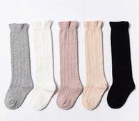 kinder mädchen socken lang großhandel-Kinder Socken Baby Mädchen Rüschen lange Socken Kinder Baumwollsocken Kinder stricken Kniestrümpfe 24 p