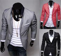 mens red casual blazer toptan satış-Moda Kış Siyah Kırmızı Gri Erkek Rahat Giysiler Pamuk Uzun Kollu Casual Slim Fit Şık Suit Blazer Mont Ceketler