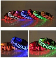 Wholesale wire dog collars resale online - New Pattern Nylon Pet LED Dog Collar Night Safety LED Flashing Glow LED Pet Supplies Dog Cat Wire Mesh Collars