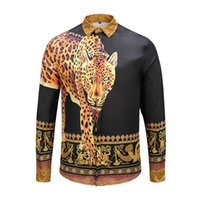 ingrosso maglie a manica lunga animale 3d-Moda Leopard 3D Animal Print Shirt Uomo Streetwear Camicia Casual Mens manica lunga pulsante sociale maschile Camisa Masculina