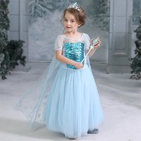 Wholesale birthday party clothes resale online - Girls Dress Snow Queen Princess Dresses with long cape Cartoon Cosplay Dresses For Girls Birthday Party Dress Costume Kids Clothing