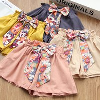 Wholesale floral bow shorts children resale online - Baby girls Floral Bow Shorts children PP Pants kids Loose leisure shorts Summer fashion Flower bow knot shorts colors B11