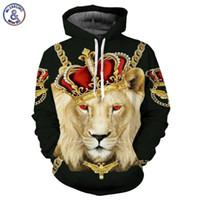 sudadera con capucha león rey al por mayor-Hip Hop Lion King Hoodies Hombres Mujeres Sudaderas Unisex Impresión 3D Bloques coloridos Skull Hooded Hoodies Hip Hop Hoodies