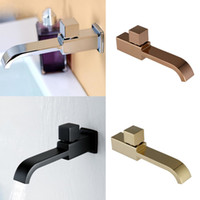Wholesale cold water wall faucet resale online - Bathroom Sink Faucet Single Handle Hole Cold Water Square Rose Gold Matt Black Chrome Finish Wall Mounted Brass Mop pool faucet