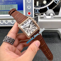 reloj deportivo blanco cuadrado al por mayor-Luxry nuevo maestro SQUARE 6000 H SC DT V Blanco Dial mecánico automático del reloj para hombre de la caja del diamante de oro rosa correa de cuero relojes deportivos