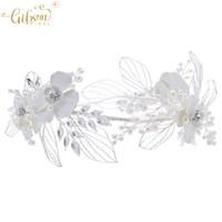 alin taç takı toptan satış-Çiçek Kız Tiaras Gelin Çelenk Saç Taç Düğün İnci Çiçeği Alın Bandı Saç Takı Dekorasyon