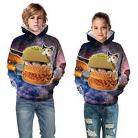 jersey de hamburguesa al por mayor-Nuevo 2019 Niños Niñas Sudaderas Con Capucha 3D Impreso Galaxy Space Food Hamburguesa Gato Diseño de Iluminación Sudaderas Niños Anime Suéteres Tops