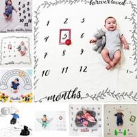 Wholesale milestone blanket for sale - Group buy Baby Letter Flower Print Blankets Creative Soft Newborn Wrap Swaddling Fashion Baby Milestone Blankets Photography Backdrops TTA771