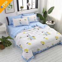 Wholesale blue floral sheet set queen for sale - Group buy 4pcs Floral Summer Cartoon High Quality Bed Sets All Size Bed Cover Sheet Pillowcases Fashion suitable bedding sets