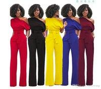 ingrosso i prezzi della tuta-Wholesale moda spalla obliqua tuta Casual Set 7 colori prezzo wholeslae Mujer felpe top abbigliamento donna