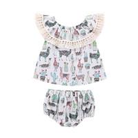 Wholesale baby lace set resale online - Baby girls outfits Off Shoulder Tassel Lace Alpaca cactus print Tops shorts set summer Boutique kids Clothing Sets C6098