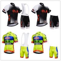 Wholesale ale cycling set resale online - ALE Summer cycling jersey sets mens pro team cycling clothing short sleeve jersey set kits cycling bib shorts pants d pad set