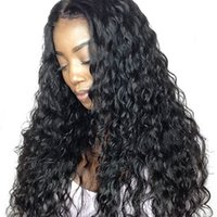 Wholesale peruvian wavy full lace wigs for sale - Group buy Full Lace Human Hair Wig for Black Women Mongolian Hair Water Wave Glueless Lace Front Wig Wet and Wavy Wigs