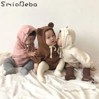 bebek ayı kıyafetleri toptan satış-2018 Kore Bebes Sevimli Hayvanlar Tulum Giyim Teddy Bear Kulaklar Kadife Yumuşak Paket Ile Bebek Boys Romper J190524